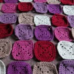 Plummy solid square crochet blanket